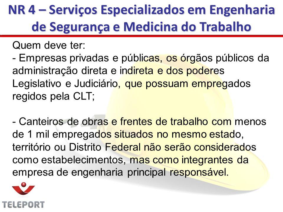 NR 4 – Serviços Especializados em Engenharia de Segurança e Medicina do Trabalho Quem deve ter: - Empresas privadas e públicas, os órgãos públicos da