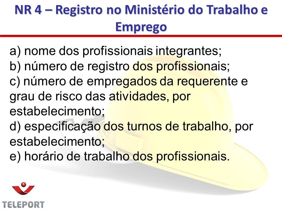 NR 4 – Registro no Ministério do Trabalho e Emprego a) nome dos profissionais integrantes; b) número de registro dos profissionais; c) número de empre