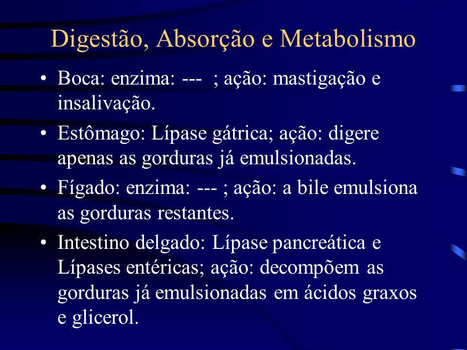Digestão, Absorção e Metabolismo Boca: enzima: --- ; ação: mastigação e insalivação.