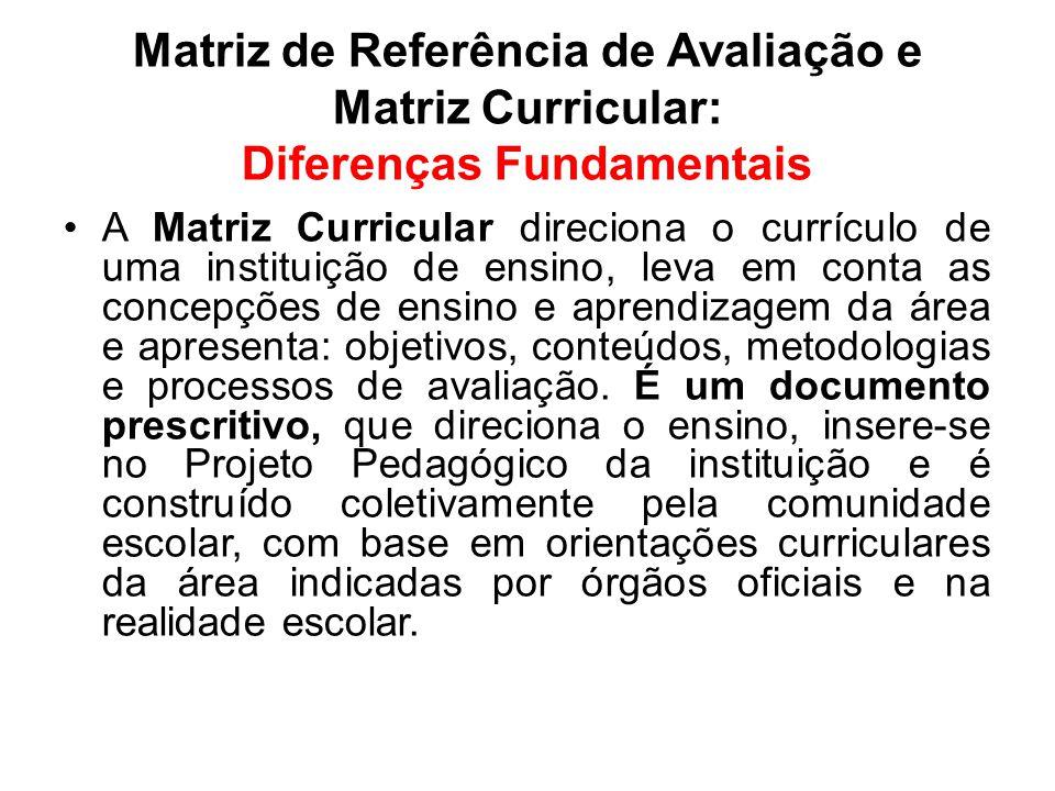 Matriz de Referência de Avaliação e Matriz Curricular: Diferenças Fundamentais A Matriz Curricular direciona o currículo de uma instituição de ensino,