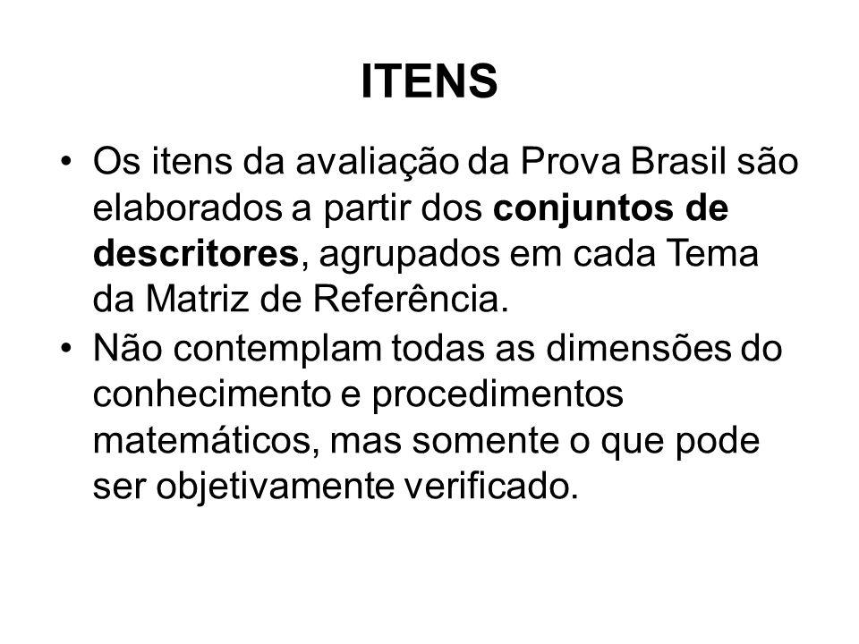 Os itens da avaliação da Prova Brasil são elaborados a partir dos conjuntos de descritores, agrupados em cada Tema da Matriz de Referência. Não contem