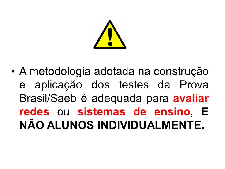 A metodologia adotada na construção e aplicação dos testes da Prova Brasil/Saeb é adequada para avaliar redes ou sistemas de ensino, E NÃO ALUNOS INDI