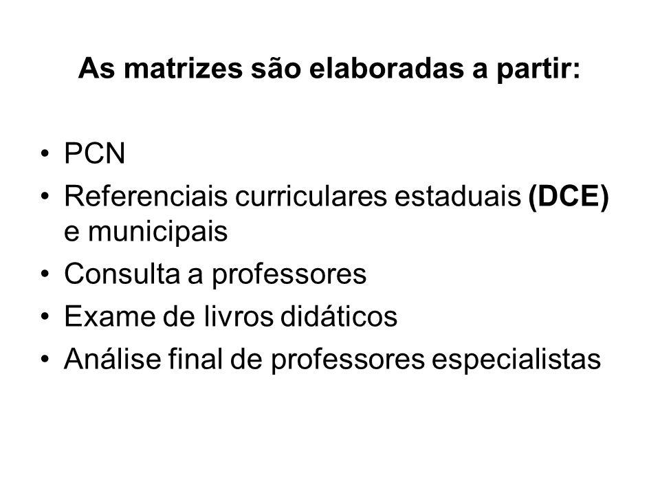 As matrizes são elaboradas a partir: PCN Referenciais curriculares estaduais (DCE) e municipais Consulta a professores Exame de livros didáticos Análi