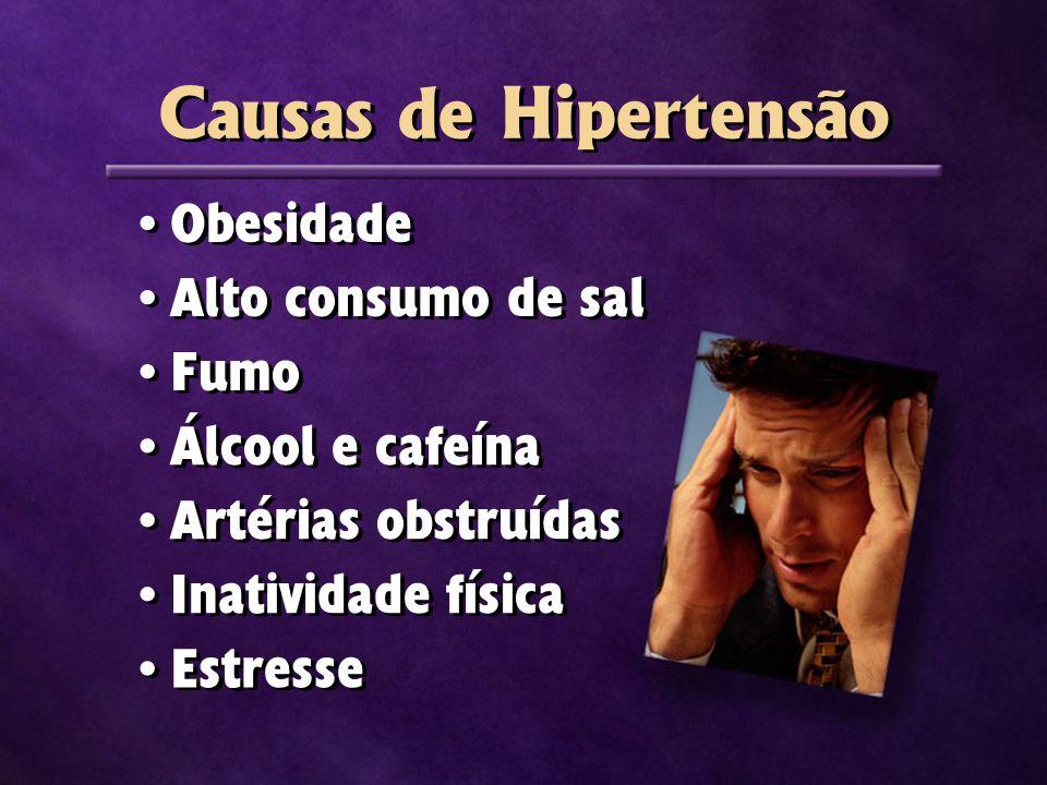 Obesidade Alto consumo de sal Fumo Álcool e cafeína Artérias obstruídas Inatividade física Estresse Causas de Hipertensão