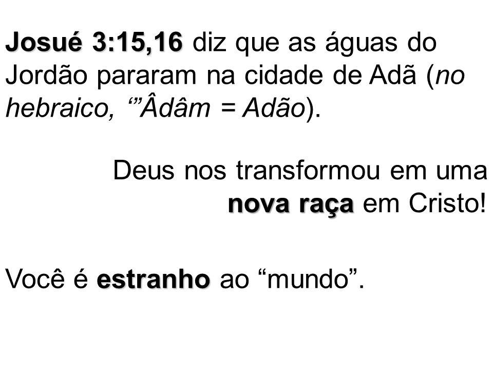 """Josué 3:15,16 Josué 3:15,16 diz que as águas do Jordão pararam na cidade de Adã (no hebraico, '""""Âdâm = Adão). nova raça Deus nos transformou em uma no"""
