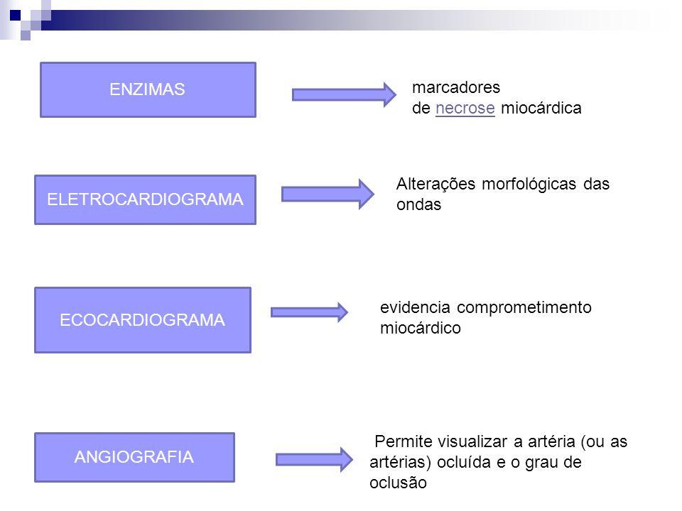 ENZIMAS ECOCARDIOGRAMA ELETROCARDIOGRAMA ANGIOGRAFIA Permite visualizar a artéria (ou as artérias) ocluída e o grau de oclusão evidencia comprometimento miocárdico Alterações morfológicas das ondas marcadores de necrose miocárdica necrose