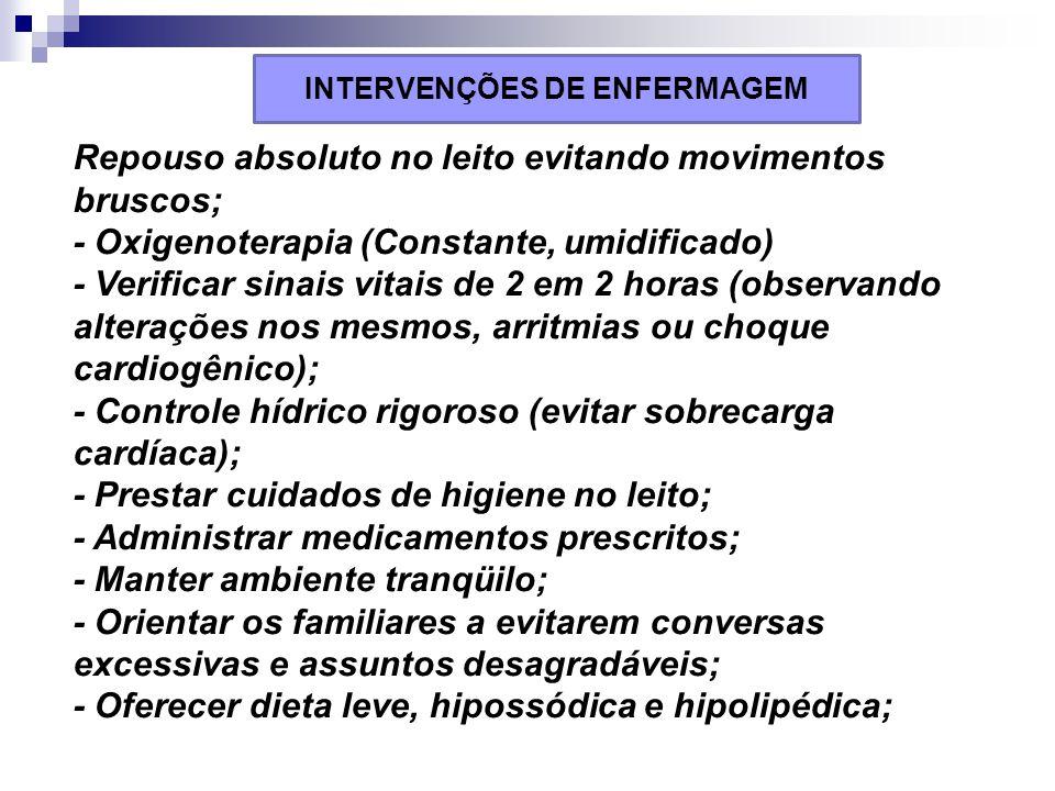 Repouso absoluto no leito evitando movimentos bruscos; - Oxigenoterapia (Constante, umidificado) - Verificar sinais vitais de 2 em 2 horas (observando