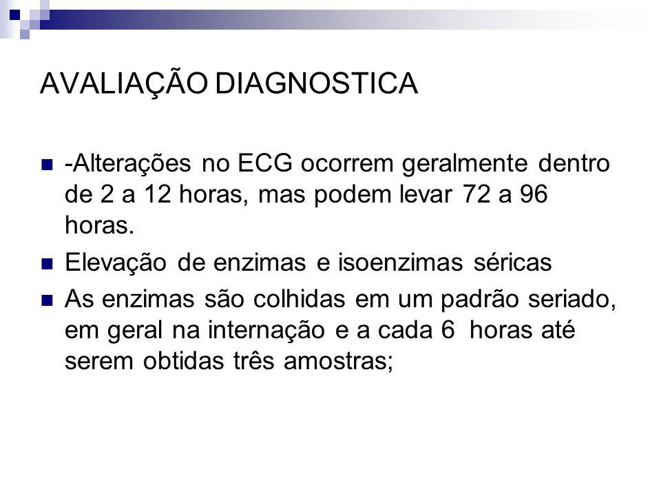 AVALIAÇÃO DIAGNOSTICA -Alterações no ECG ocorrem geralmente dentro de 2 a 12 horas, mas podem levar 72 a 96 horas. Elevação de enzimas e isoenzimas sé