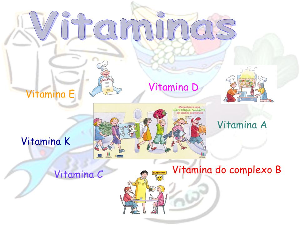 Vitamina A Vitamina do complexo B Vitamina C Vitamina D Vitamina E Vitamina K