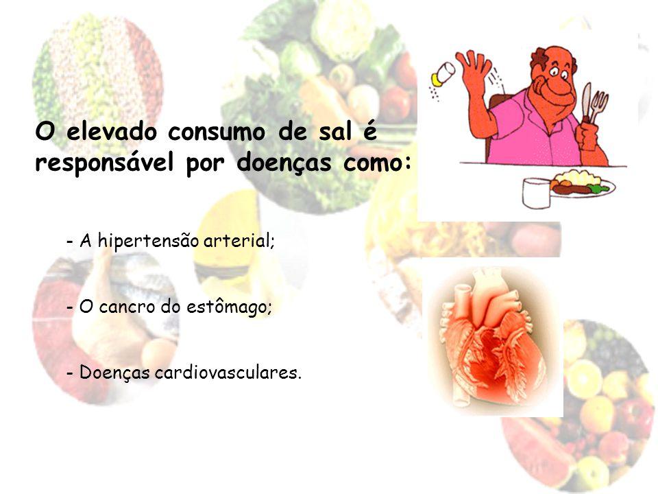 O elevado consumo de sal é responsável por doenças como: - A hipertensão arterial; - O cancro do estômago; - Doenças cardiovasculares.