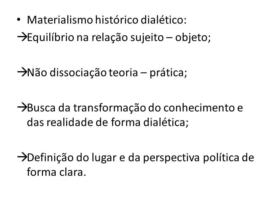 Materialismo histórico dialético:  Equilíbrio na relação sujeito – objeto;  Não dissociação teoria – prática;  Busca da transformação do conhecimento e das realidade de forma dialética;  Definição do lugar e da perspectiva política de forma clara.