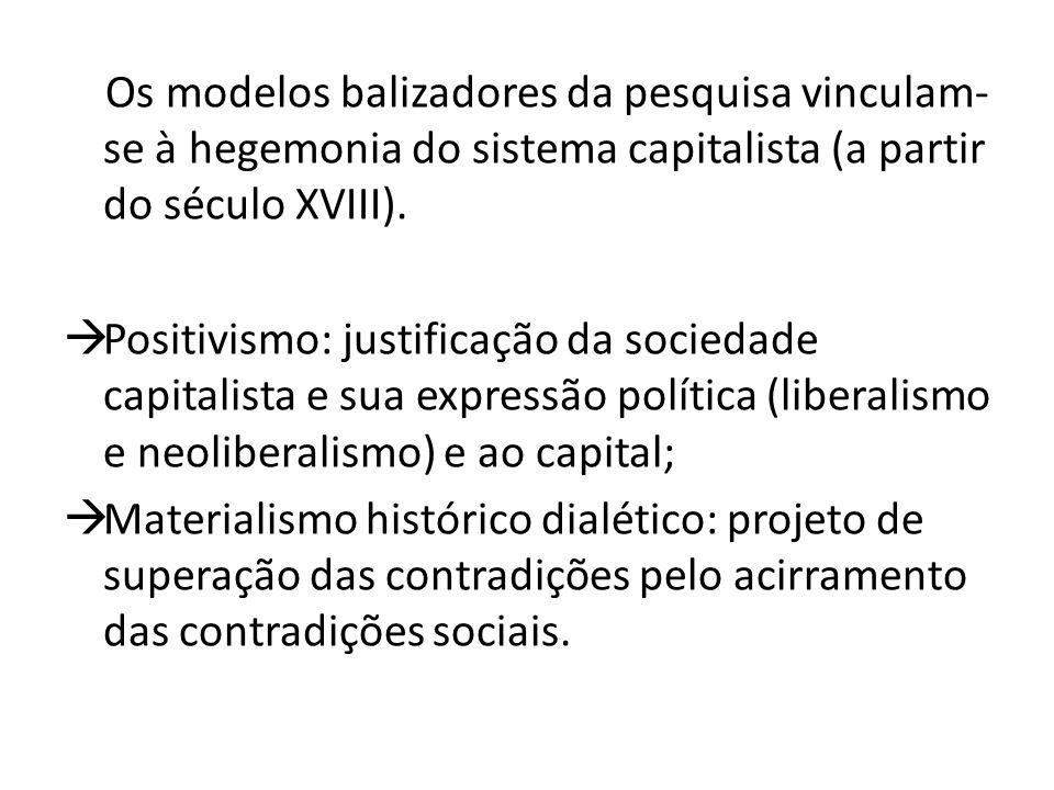 Os modelos balizadores da pesquisa vinculam- se à hegemonia do sistema capitalista (a partir do século XVIII).