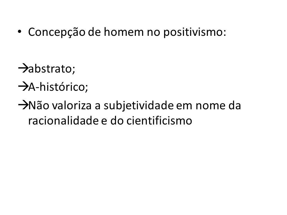 Concepção de homem no positivismo:  abstrato;  A-histórico;  Não valoriza a subjetividade em nome da racionalidade e do cientificismo