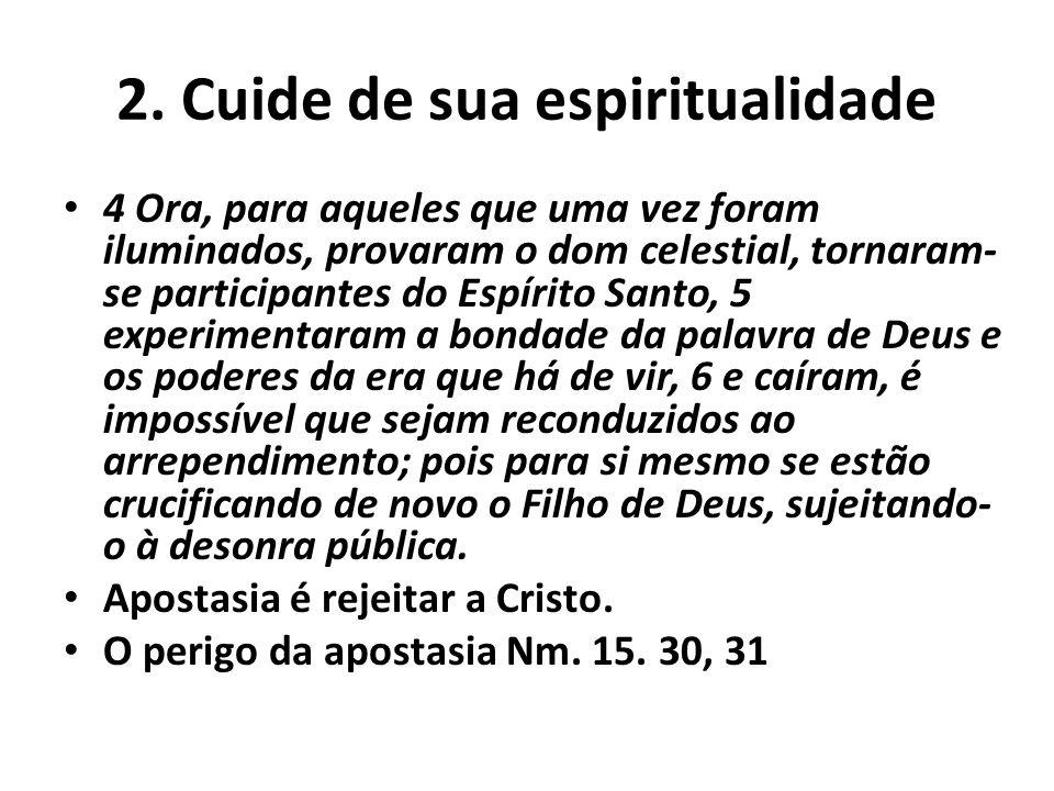 2. Cuide de sua espiritualidade 4 Ora, para aqueles que uma vez foram iluminados, provaram o dom celestial, tornaram- se participantes do Espírito San