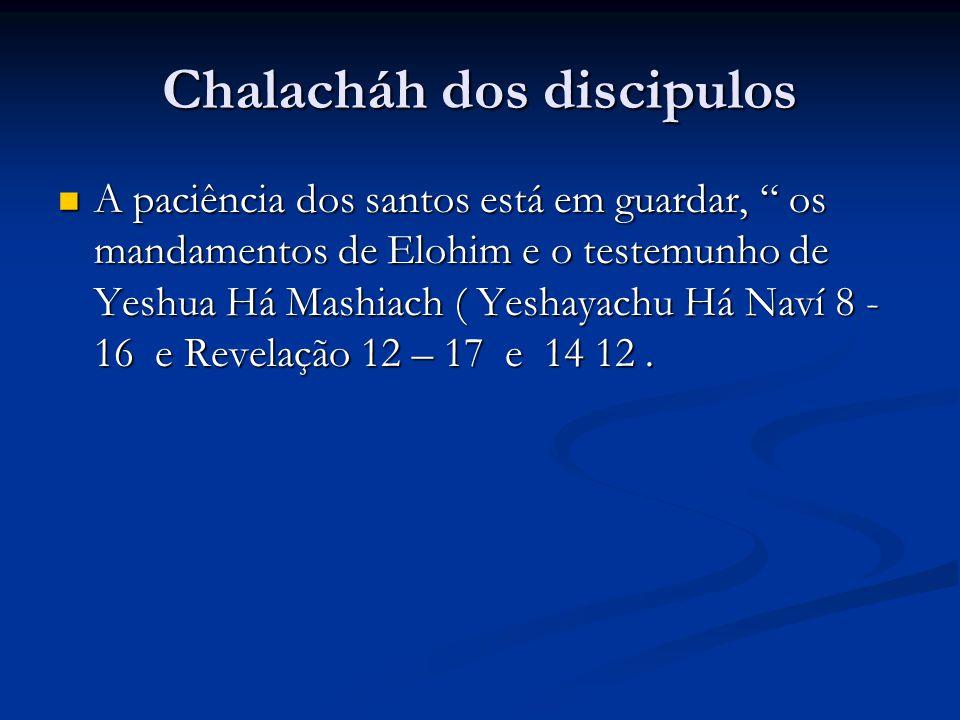 Chalacháh dos discipulos A paciência dos santos está em guardar, os mandamentos de Elohim e o testemunho de Yeshua Há Mashiach ( Yeshayachu Há Naví 8 - 16 e Revelação 12 – 17 e 14 12.