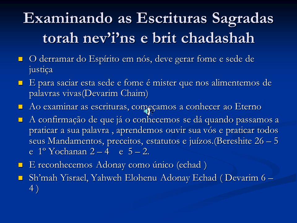 Examinando as Escrituras Sagradas torah nev'i'ns e brit chadashah O derramar do Espírito em nós, deve gerar fome e sede de justiça O derramar do Espírito em nós, deve gerar fome e sede de justiça E para saciar esta sede e fome é mister que nos alimentemos de palavras vivas(Devarim Chaim) E para saciar esta sede e fome é mister que nos alimentemos de palavras vivas(Devarim Chaim) Ao examinar as escrituras, começamos a conhecer ao Eterno Ao examinar as escrituras, começamos a conhecer ao Eterno A confirmação de que já o conhecemos se dá quando passamos a praticar a sua palavra, aprendemos ouvir sua vós e praticar todos seus Mandamentos, preceitos, estatutos e juízos.(Bereshite 26 – 5 e 1º Yochanan 2 – 4 e 5 – 2.