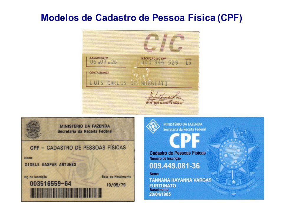 """Apresenta��o """"CPF (Cadastro de Pessoa F�sica). O cart�o de CPF � o ..."""