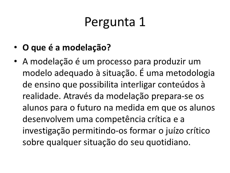Pergunta 1 O que é a modelação? A modelação é um processo para produzir um modelo adequado à situação. É uma metodologia de ensino que possibilita int