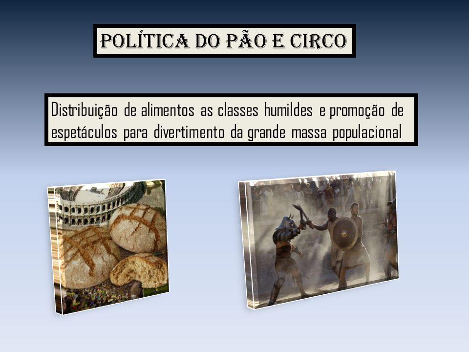 Política do pão e circo Distribuição de alimentos as classes humildes e promoção de espetáculos para divertimento da grande massa populacional