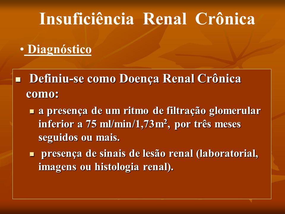 Definiu-se como Doença Renal Crônica como: Definiu-se como Doença Renal Crônica como: a presença de um ritmo de filtração glomerular inferior a 75 ml/min/1,73m 2, por três meses seguidos ou mais.