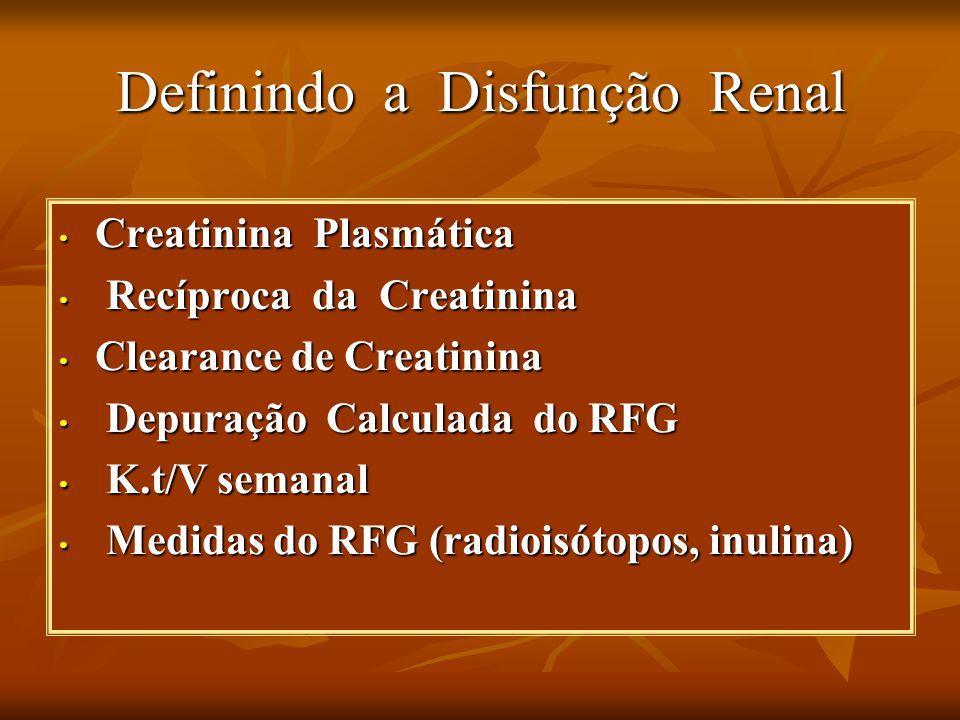 Definindo a Disfunção Renal Creatinina Plasmática Creatinina Plasmática Recíproca da Creatinina Recíproca da Creatinina Clearance de Creatinina Clearance de Creatinina Depuração Calculada do RFG Depuração Calculada do RFG K.t/V semanal K.t/V semanal Medidas do RFG (radioisótopos, inulina) Medidas do RFG (radioisótopos, inulina)