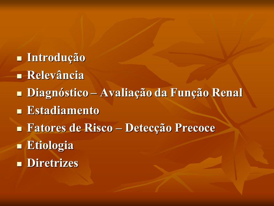 Introdução Introdução Relevância Relevância Diagnóstico – Avaliação da Função Renal Diagnóstico – Avaliação da Função Renal Estadiamento Estadiamento