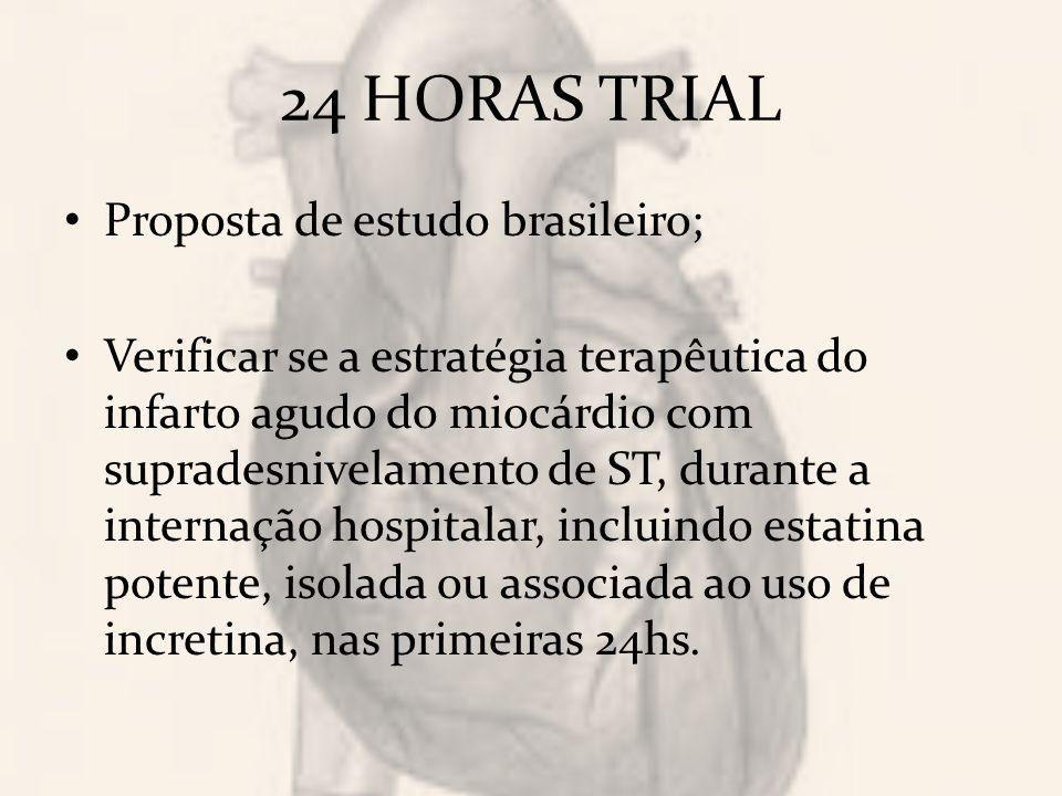 24 HORAS TRIAL Proposta de estudo brasileiro; Verificar se a estratégia terapêutica do infarto agudo do miocárdio com supradesnivelamento de ST, durante a internação hospitalar, incluindo estatina potente, isolada ou associada ao uso de incretina, nas primeiras 24hs.