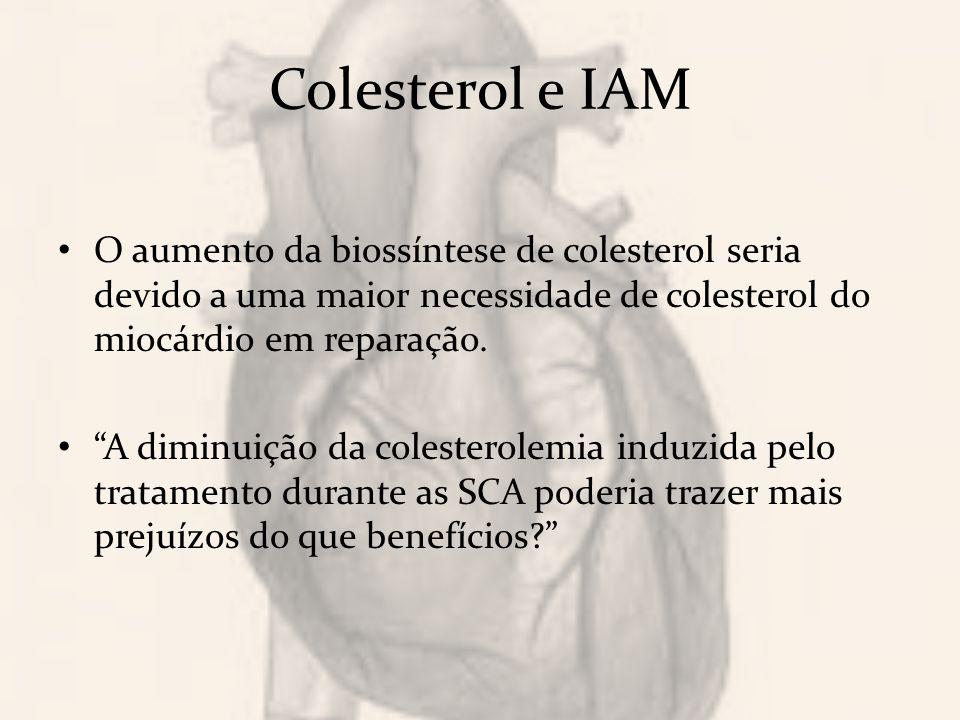 Colesterol e IAM O aumento da biossíntese de colesterol seria devido a uma maior necessidade de colesterol do miocárdio em reparação.