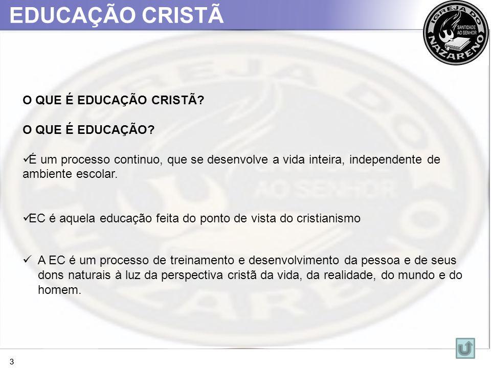 EDUCAÇÃO CRISTÃ 33 O QUE É EDUCAÇÃO CRISTÃ? O QUE É EDUCAÇÃO? É um processo continuo, que se desenvolve a vida inteira, independente de ambiente escol
