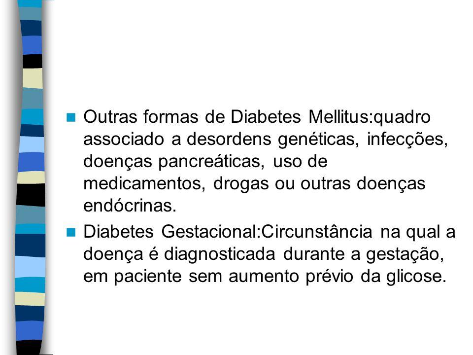 Sintomas urinários: Pacientes diabéticos podem apresentar dificuldade para esvaziamento da bexiga em decorrência da perda de sua inervação (bexiga neurogênica).