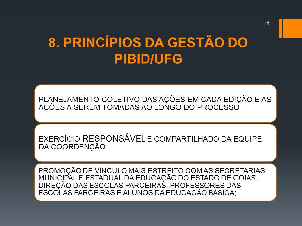 8. PRINCÍPIOS DA GESTÃO DO PIBID/UFG PLANEJAMENTO COLETIVO DAS AÇÕES EM CADA EDIÇÃO E AS AÇÕES A SEREM TOMADAS AO LONGO DO PROCESSO EXERCÍCIO RESPONSÁ