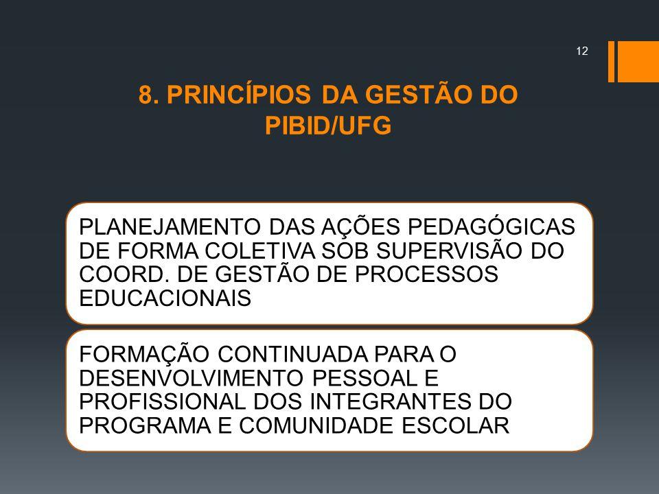 8. PRINCÍPIOS DA GESTÃO DO PIBID/UFG PLANEJAMENTO DAS AÇÕES PEDAGÓGICAS DE FORMA COLETIVA SOB SUPERVISÃO DO COORD. DE GESTÃO DE PROCESSOS EDUCACIONAIS