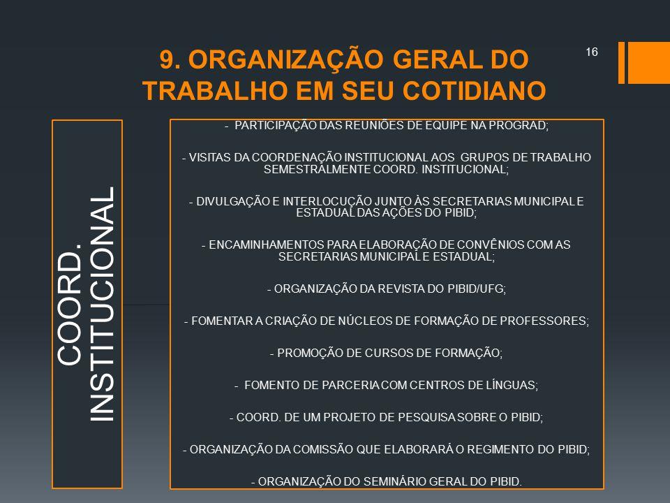 9. ORGANIZAÇÃO GERAL DO TRABALHO EM SEU COTIDIANO COORD. INSTITUCIONAL - PARTICIPAÇÃO DAS REUNIÕES DE EQUIPE NA PROGRAD; - VISITAS DA COORDENAÇÃO INST