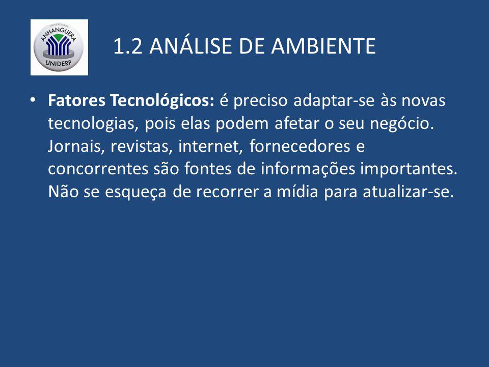 1.2 ANÁLISE DE AMBIENTE Fatores Tecnológicos: é preciso adaptar-se às novas tecnologias, pois elas podem afetar o seu negócio. Jornais, revistas, inte