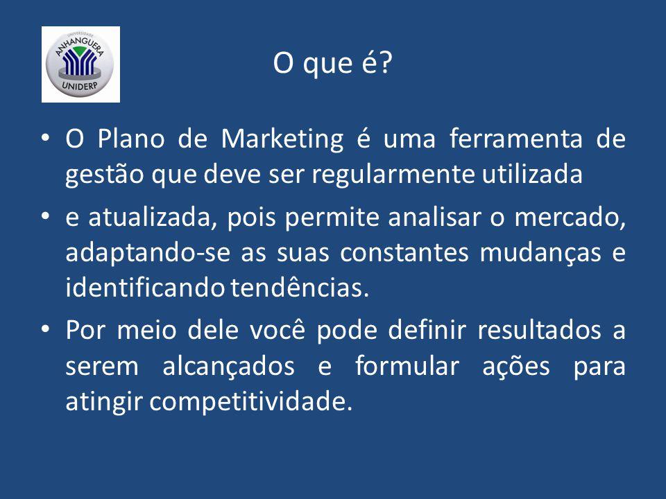 O que é? O Plano de Marketing é uma ferramenta de gestão que deve ser regularmente utilizada e atualizada, pois permite analisar o mercado, adaptando-