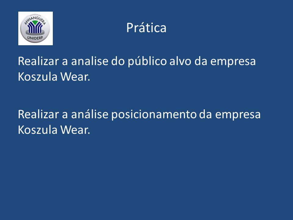 Prática Realizar a analise do público alvo da empresa Koszula Wear. Realizar a análise posicionamento da empresa Koszula Wear.
