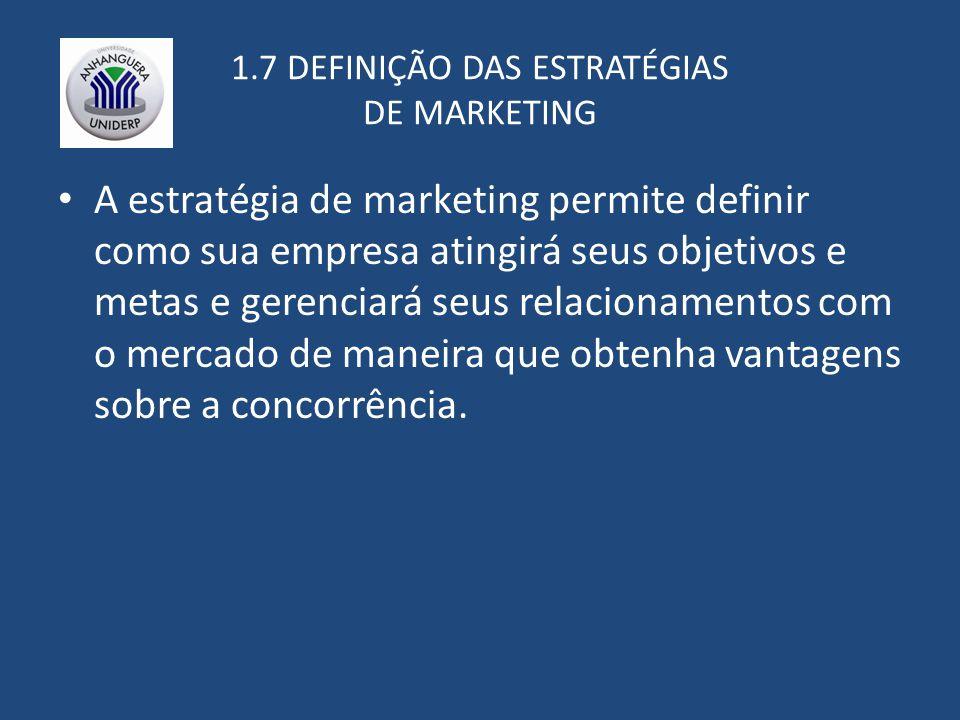 1.7 DEFINIÇÃO DAS ESTRATÉGIAS DE MARKETING A estratégia de marketing permite definir como sua empresa atingirá seus objetivos e metas e gerenciará seus relacionamentos com o mercado de maneira que obtenha vantagens sobre a concorrência.