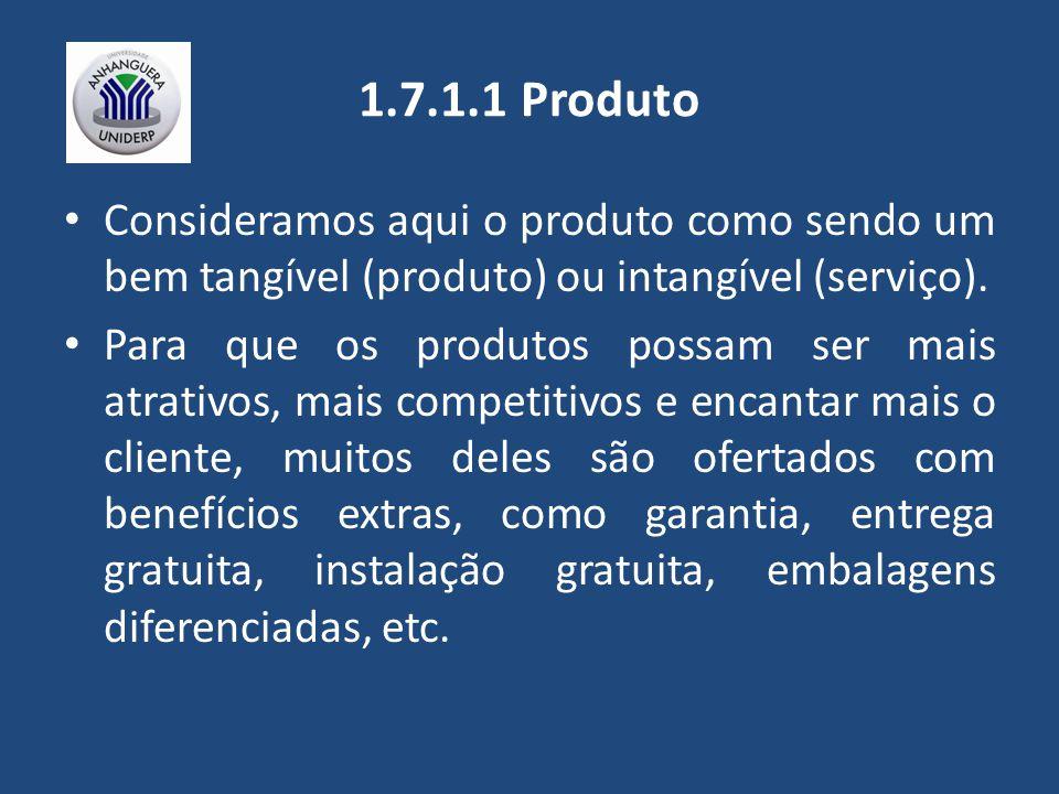 1.7.1.1 Produto Consideramos aqui o produto como sendo um bem tangível (produto) ou intangível (serviço). Para que os produtos possam ser mais atrativ