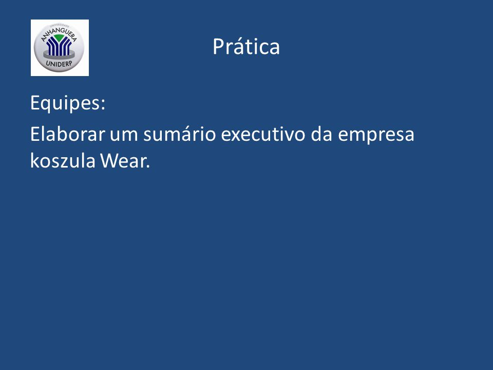 Prática Equipes: Elaborar um sumário executivo da empresa koszula Wear.
