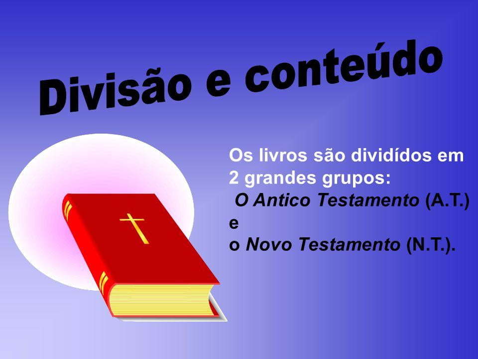 Os livros são dividídos em 2 grandes grupos: O Antico Testamento (A.T.) e o Novo Testamento (N.T.).