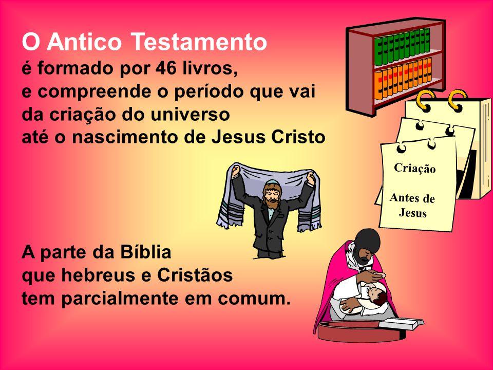 O Antico Testamento é formado por 46 livros, e compreende o período que vai da criação do universo até o nascimento de Jesus Cristo A parte da Bíblia que hebreus e Cristãos tem parcialmente em comum.