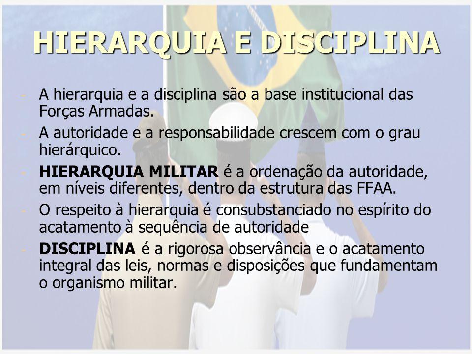 HIERARQUIA E DISCIPLINA - - A hierarquia e a disciplina são a base institucional das Forças Armadas.
