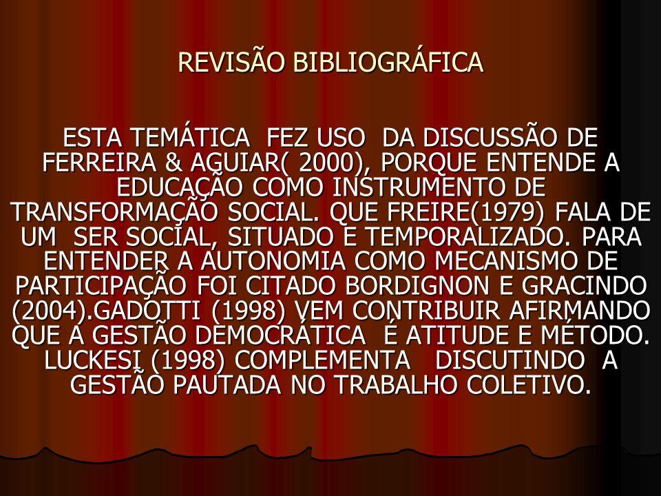REVISÃO BIBLIOGRÁFICA ESTA TEMÁTICA FEZ USO DA DISCUSSÃO DE FERREIRA & AGUIAR( 2000), PORQUE ENTENDE A EDUCAÇÃO COMO INSTRUMENTO DE TRANSFORMAÇÃO SOCIAL.