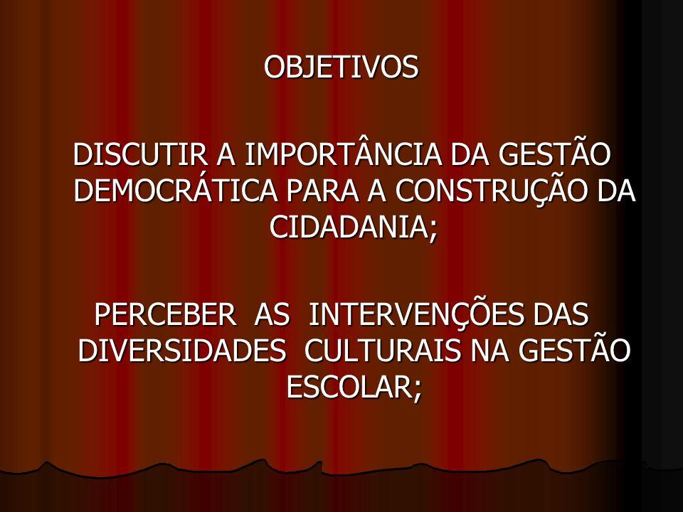 OBJETIVOS DISCUTIR A IMPORTÂNCIA DA GESTÃO DEMOCRÁTICA PARA A CONSTRUÇÃO DA CIDADANIA; PERCEBER AS INTERVENÇÕES DAS DIVERSIDADES CULTURAIS NA GESTÃO ESCOLAR;