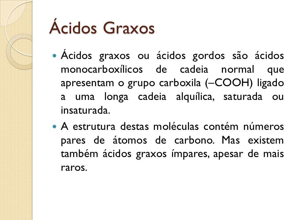 Ácidos Graxos Ácidos graxos ou ácidos gordos são ácidos monocarboxílicos de cadeia normal que apresentam o grupo carboxila (–COOH) ligado a uma longa cadeia alquílica, saturada ou insaturada.