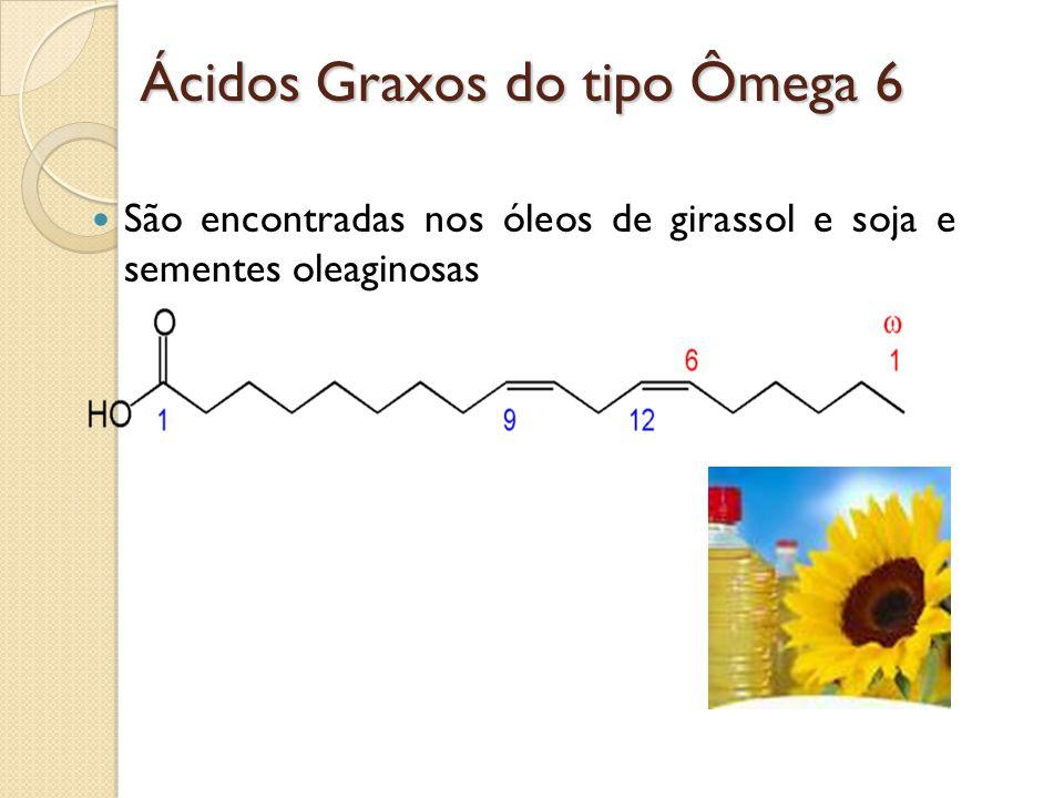 Ácidos Graxos do tipo Ômega 6 São encontradas nos óleos de girassol e soja e sementes oleaginosas