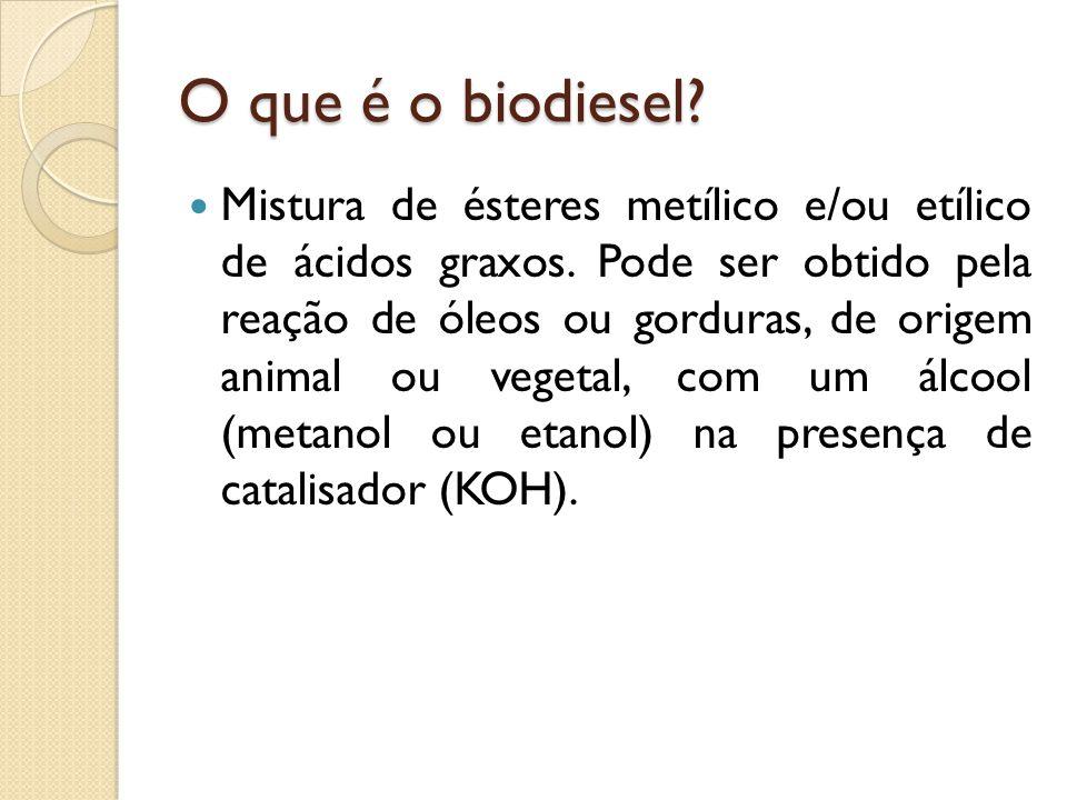 O que é o biodiesel.Mistura de ésteres metílico e/ou etílico de ácidos graxos.