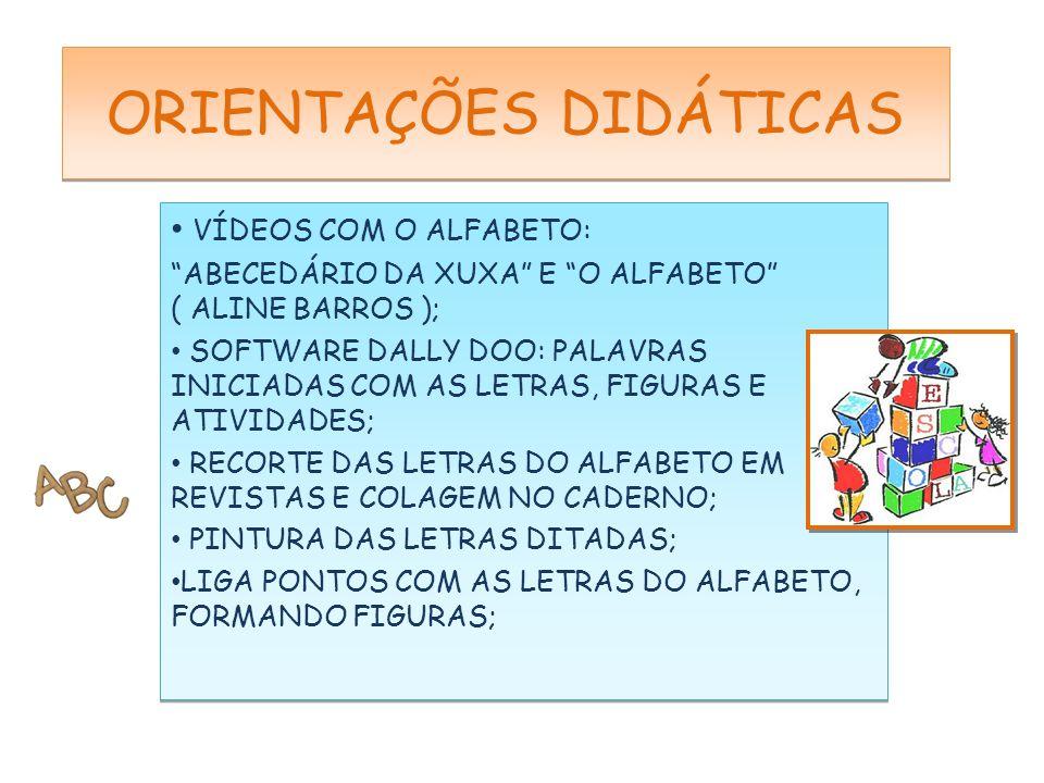 """VÍDEOS COM O ALFABETO: """"ABECEDÁRIO DA XUXA"""" E """"O ALFABETO"""" ( ALINE BARROS ); SOFTWARE DALLY DOO: PALAVRAS INICIADAS COM AS LETRAS, FIGURAS E ATIVIDADE"""