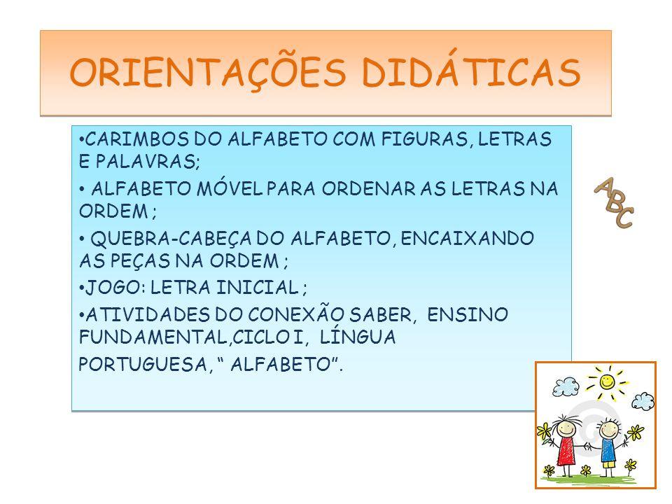 CLIP DA MÚSICA ABECEDÁRIO DA XUXA E O ALFABETO DA ALINE BARROS; SOFTWARE DOLLY DOO ALFABETO ; ATIVIDADES PESQUISADAS DA INTERNET (IMAGENS GOOGLE); JOGOS,REVISTAS,ALFABETO MÓVEL E CARIMBOS DE USO DA S.R.M.; CONEXÃO SABER.