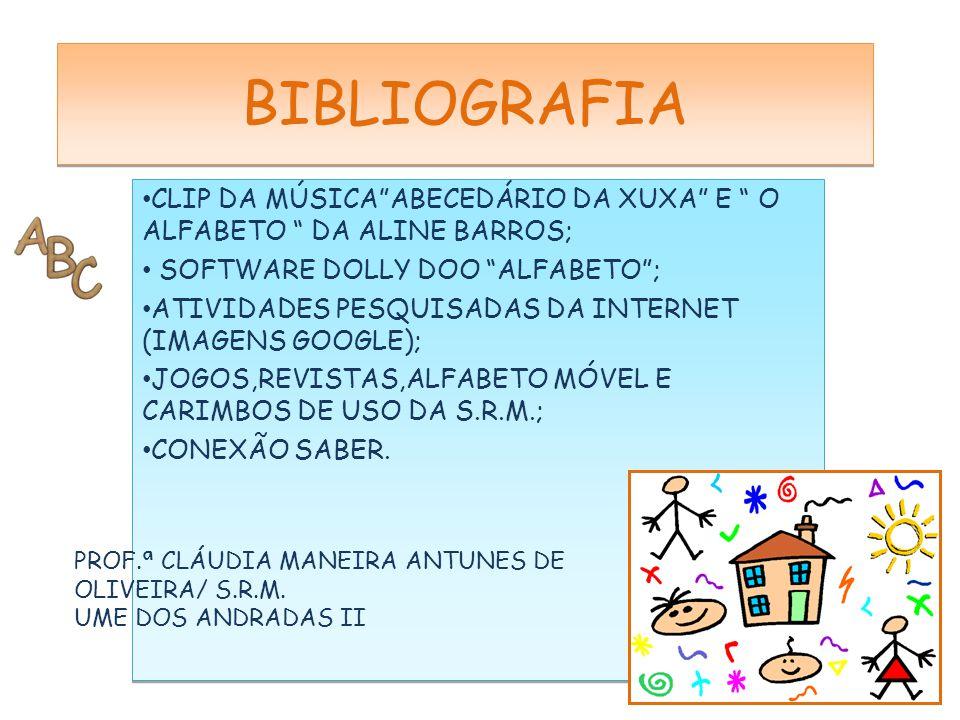 """CLIP DA MÚSICA""""ABECEDÁRIO DA XUXA"""" E """" O ALFABETO """" DA ALINE BARROS; SOFTWARE DOLLY DOO """"ALFABETO""""; ATIVIDADES PESQUISADAS DA INTERNET (IMAGENS GOOGLE"""